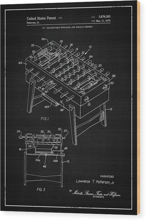 Vintage Foosball Table Patent, 1975 - Wood Print from Wallasso - The Wall Art Superstore