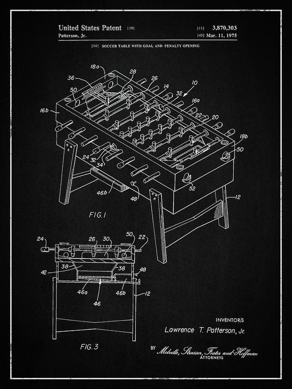 Vintage Foosball Table Patent, 1975 - Art Print from Wallasso - The Wall Art Superstore