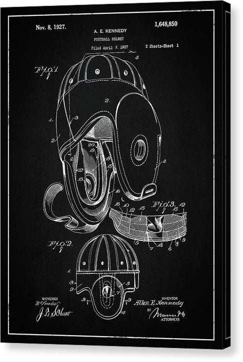 Vintage Football Helmet Patent, 1927 - Canvas Print from Wallasso - The Wall Art Superstore