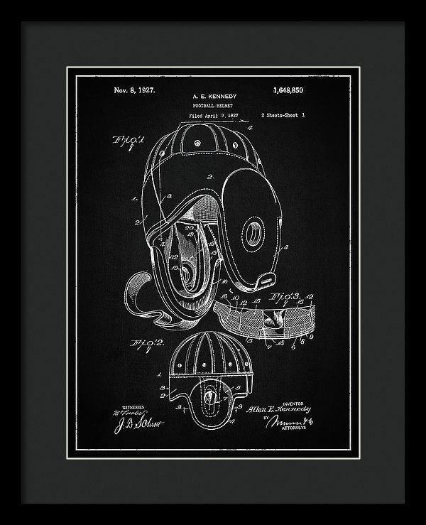 Vintage Football Helmet Patent, 1927 - Framed Print from Wallasso - The Wall Art Superstore