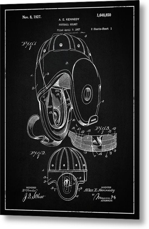 Vintage Football Helmet Patent, 1927 - Metal Print from Wallasso - The Wall Art Superstore