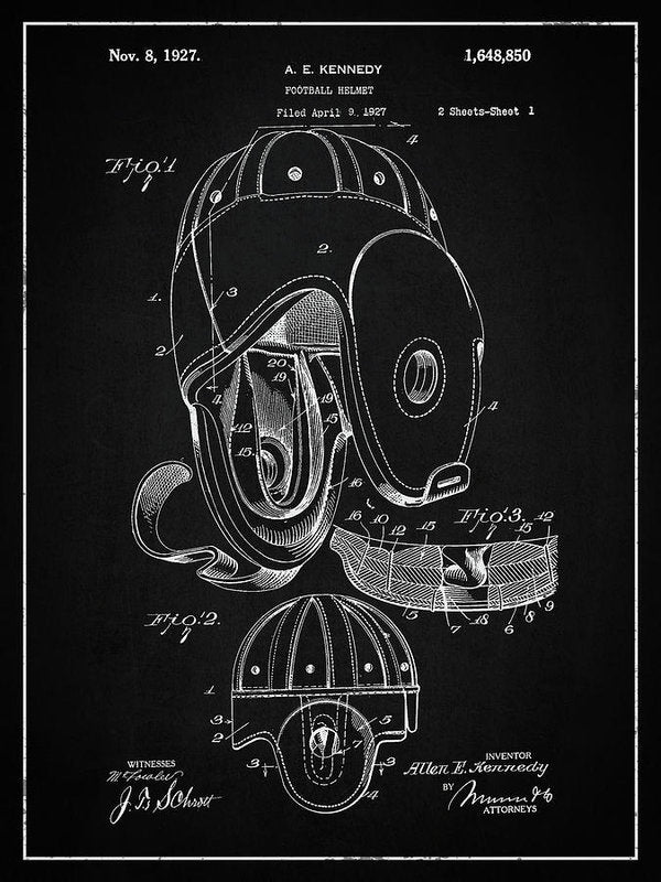 Vintage Football Helmet Patent, 1927 - Art Print from Wallasso - The Wall Art Superstore
