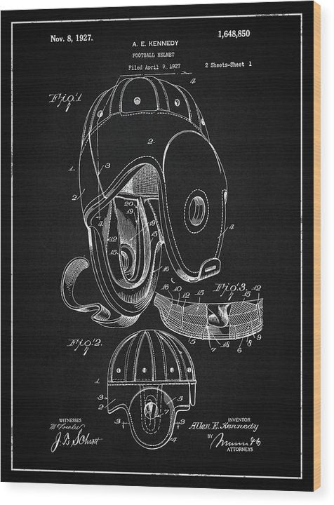 Vintage Football Helmet Patent, 1927 - Wood Print from Wallasso - The Wall Art Superstore