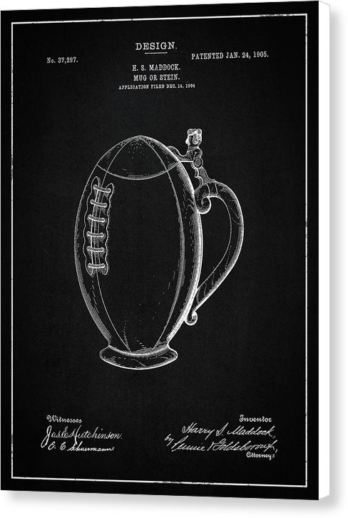 Vintage Football Mug Patent, 1905 - Canvas Print from Wallasso - The Wall Art Superstore