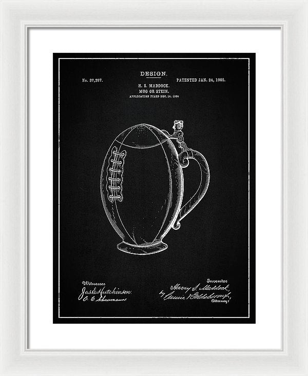 Vintage Football Mug Patent, 1905 - Framed Print from Wallasso - The Wall Art Superstore
