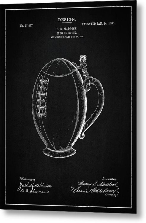 Vintage Football Mug Patent, 1905 - Metal Print from Wallasso - The Wall Art Superstore