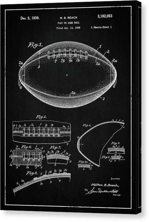 Vintage Football Patent, 1939 - Canvas Print from Wallasso - The Wall Art Superstore