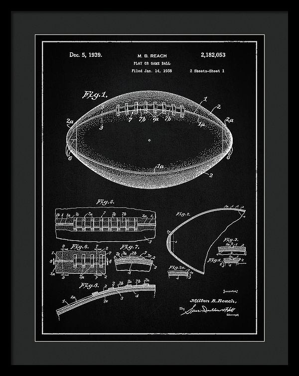 Vintage Football Patent, 1939 - Framed Print from Wallasso - The Wall Art Superstore