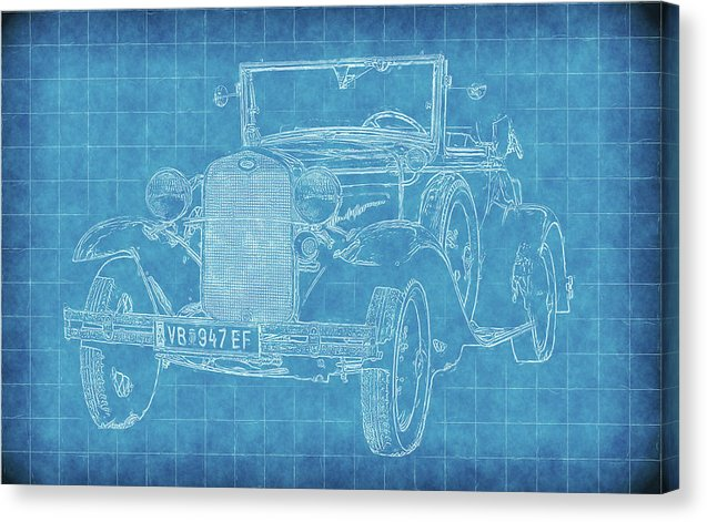 Vintage Ford Model A Car Blueprint - Canvas Print from Wallasso - The Wall Art Superstore