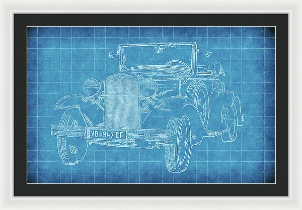 Vintage Ford Model A Car Blueprint - Framed Print from Wallasso - The Wall Art Superstore