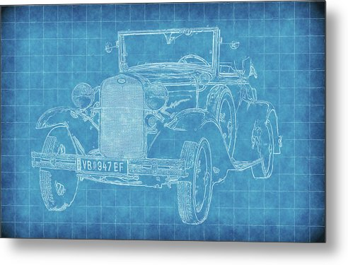 Vintage Ford Model A Car Blueprint - Metal Print from Wallasso - The Wall Art Superstore