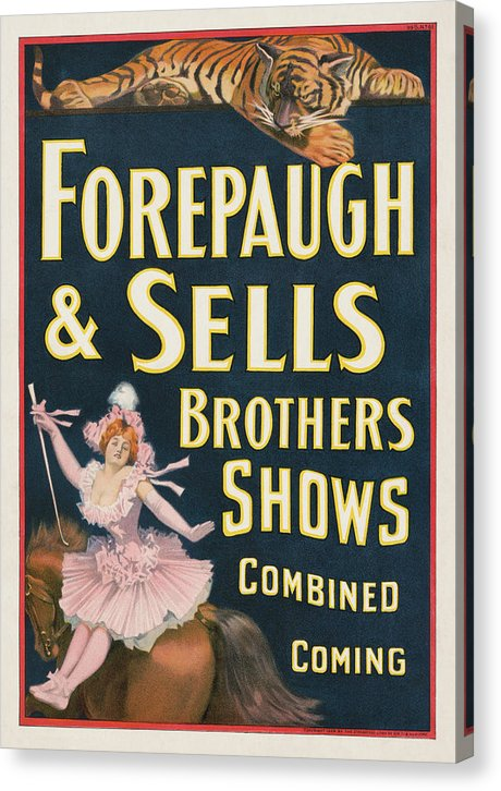 Vintage Forepaugh and Sells Brothers Circus Poster, 1899 - Canvas Print from Wallasso - The Wall Art Superstore