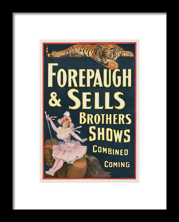 Vintage Forepaugh and Sells Brothers Circus Poster, 1899 - Framed Print from Wallasso - The Wall Art Superstore