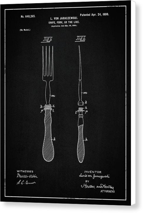 Vintage Fork Patent, 1900 - Canvas Print from Wallasso - The Wall Art Superstore