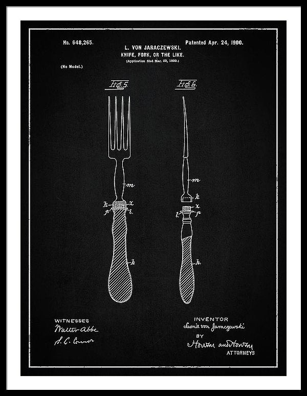 Vintage Fork Patent, 1900 - Framed Print from Wallasso - The Wall Art Superstore