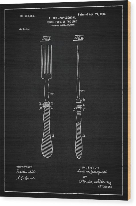 Vintage Fork Patent, 1900 - Wood Print from Wallasso - The Wall Art Superstore