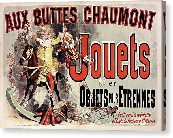 Vintage French Aux Buttes Chaumont Jouets Toy Poster, 1885 - Canvas Print from Wallasso - The Wall Art Superstore