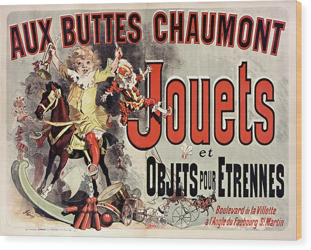 Vintage French Aux Buttes Chaumont Jouets Toy Poster, 1885 - Wood Print from Wallasso - The Wall Art Superstore