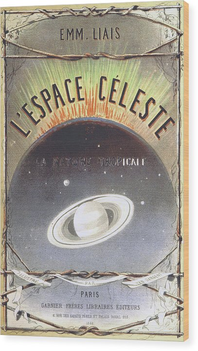 Vintage French Book Cover About Space, 1866 - Wood Print from Wallasso - The Wall Art Superstore