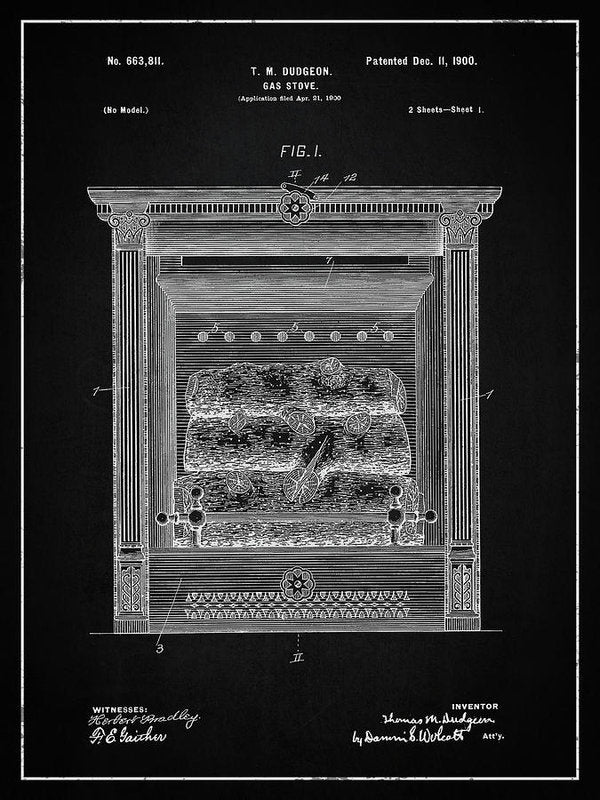 Vintage Gas Fireplace Patent, 1900 - Art Print from Wallasso - The Wall Art Superstore
