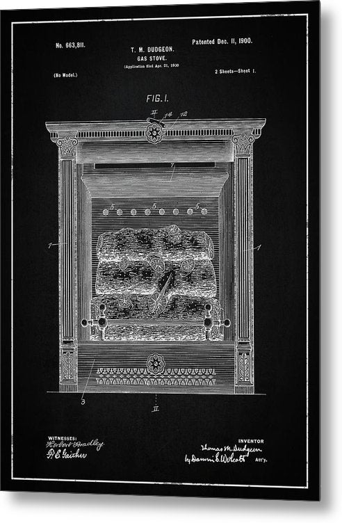 Vintage Gas Fireplace Patent, 1900 - Metal Print from Wallasso - The Wall Art Superstore