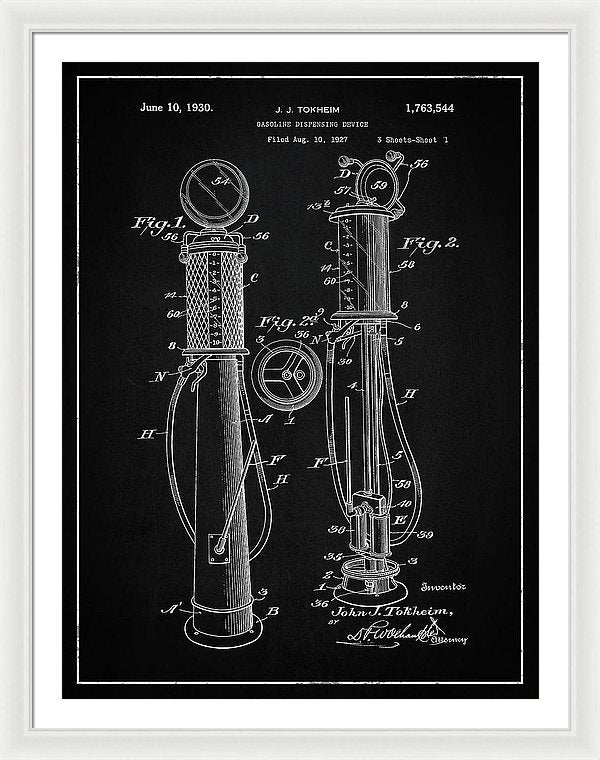 Vintage Gas Pump Patent, 1930 - Framed Print from Wallasso - The Wall Art Superstore