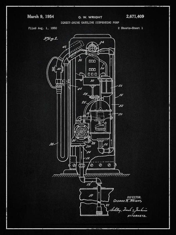 Vintage Gas Pump Patent, 1954 - Art Print from Wallasso - The Wall Art Superstore