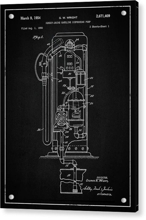 Vintage Gas Pump Patent, 1954 - Acrylic Print from Wallasso - The Wall Art Superstore