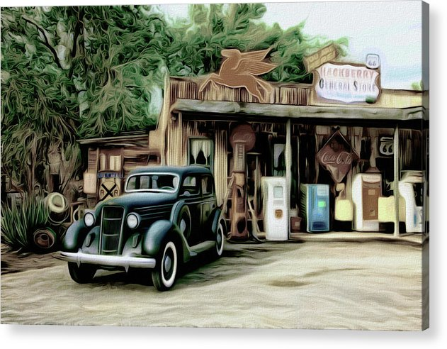Vintage Gas Station Painting - Acrylic Print from Wallasso - The Wall Art Superstore