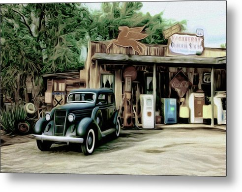 Vintage Gas Station Painting - Metal Print from Wallasso - The Wall Art Superstore