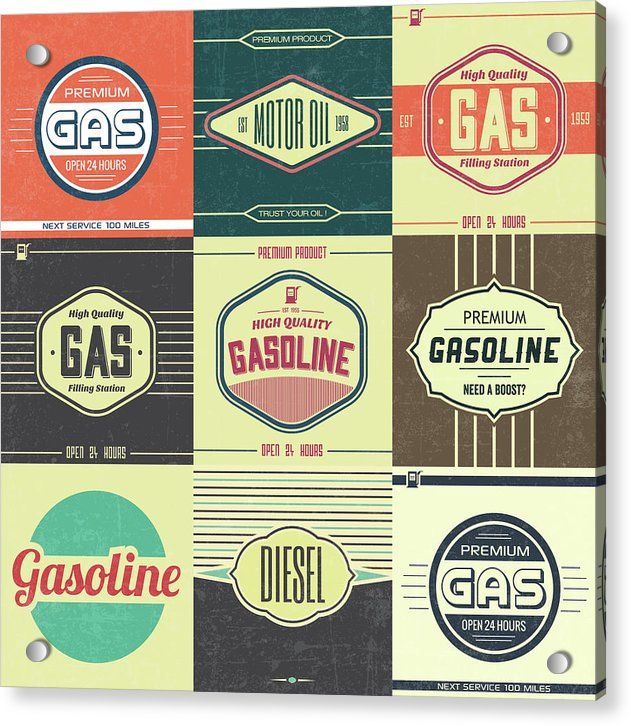 Vintage Gasoline Logo Collage - Acrylic Print from Wallasso - The Wall Art Superstore