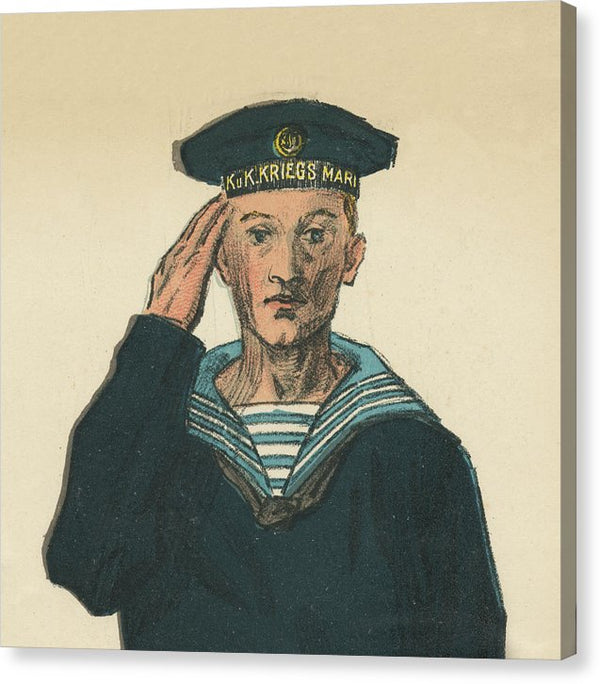 Vintage German Sailor Sketch - Canvas Print from Wallasso - The Wall Art Superstore