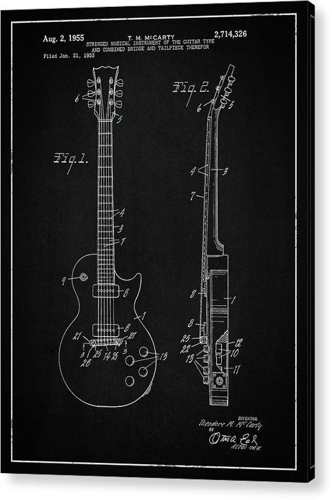 Vintage Gibson Les Paul Guitar Patent, 1955 - Acrylic Print from Wallasso - The Wall Art Superstore