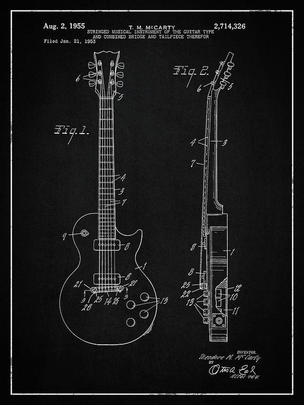 Vintage Gibson Les Paul Guitar Patent, 1955 - Art Print from Wallasso - The Wall Art Superstore