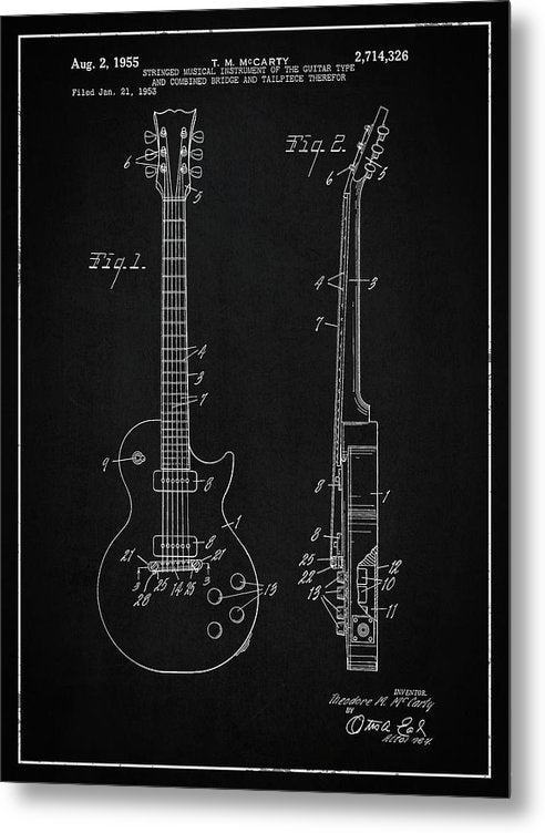 Vintage Gibson Les Paul Guitar Patent, 1955 - Metal Print from Wallasso - The Wall Art Superstore