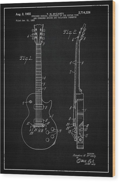 Vintage Gibson Les Paul Guitar Patent, 1955 - Wood Print from Wallasso - The Wall Art Superstore