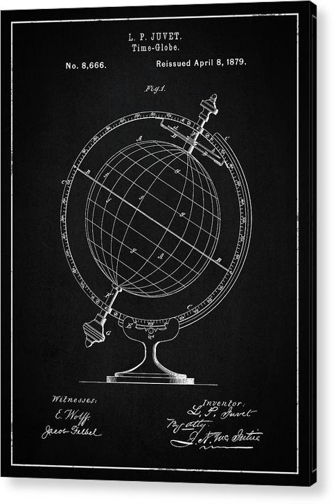 Vintage Globe Patent, 1879 - Acrylic Print from Wallasso - The Wall Art Superstore