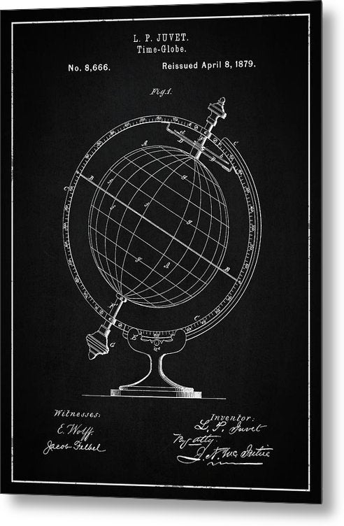Vintage Globe Patent, 1879 - Metal Print from Wallasso - The Wall Art Superstore