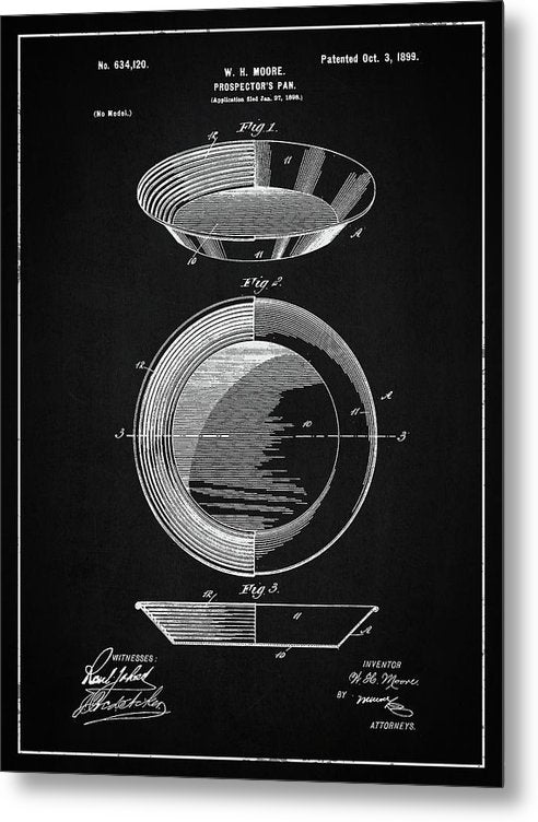 Vintage Gold Prospecting Pan Patent, 1899 - Metal Print from Wallasso - The Wall Art Superstore