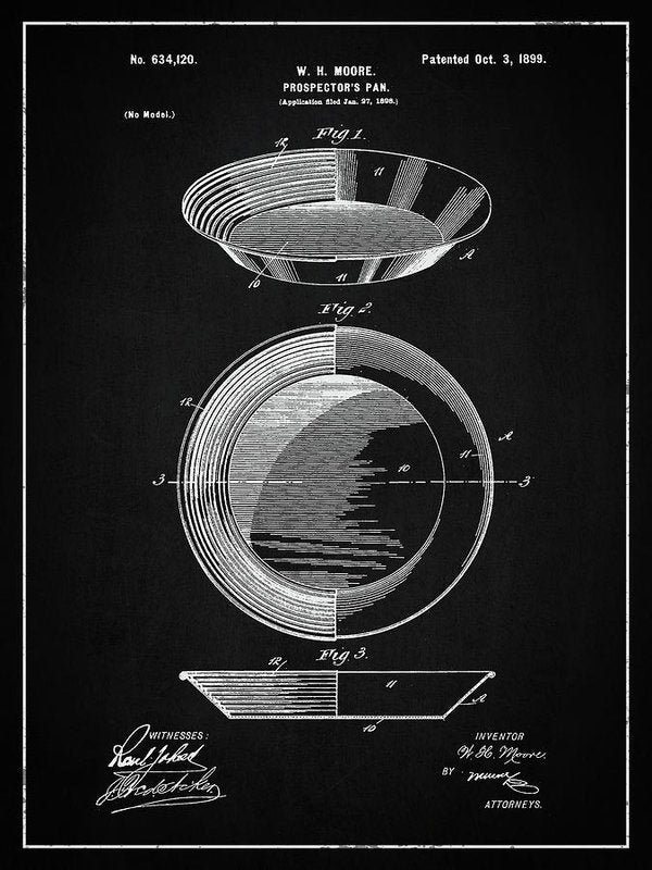 Vintage Gold Prospecting Pan Patent, 1899 - Art Print from Wallasso - The Wall Art Superstore