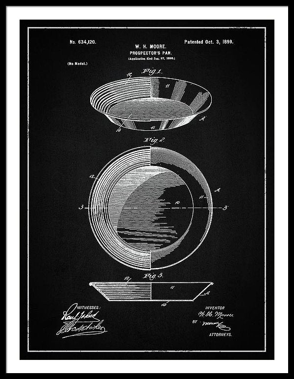 Vintage Gold Prospecting Pan Patent, 1899 - Framed Print from Wallasso - The Wall Art Superstore