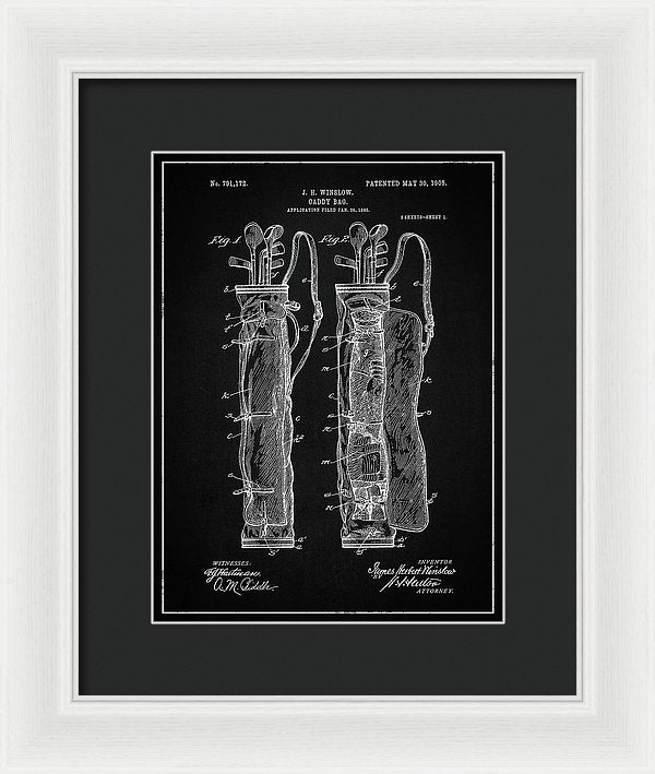 Vintage Golf Bag Patent, 1905 - Framed Print from Wallasso - The Wall Art Superstore