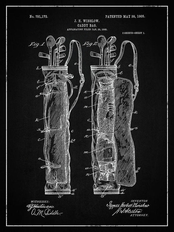 Vintage Golf Bag Patent, 1905 - Art Print from Wallasso - The Wall Art Superstore