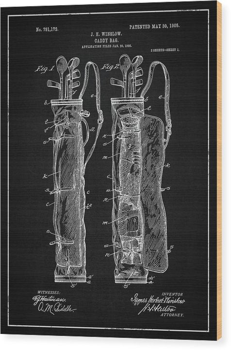 Vintage Golf Bag Patent, 1905 - Wood Print from Wallasso - The Wall Art Superstore