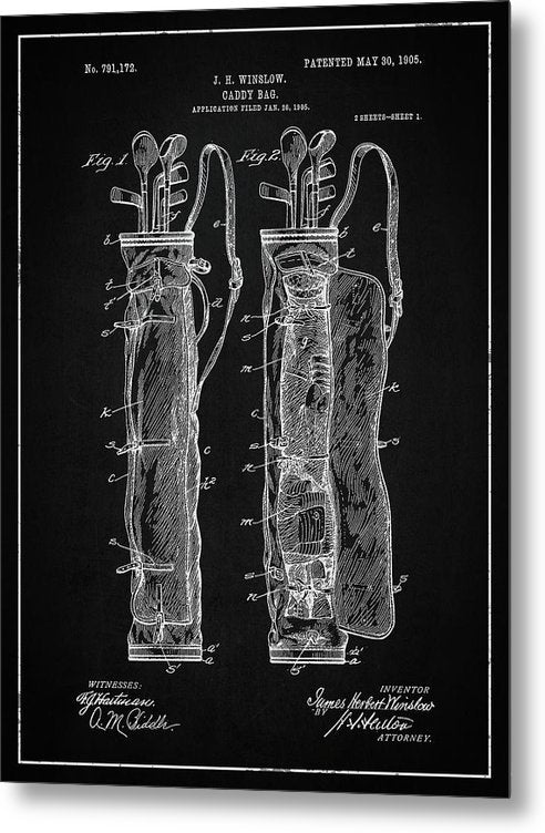Vintage Golf Bag Patent, 1905 - Metal Print from Wallasso - The Wall Art Superstore