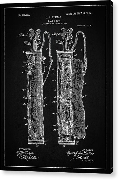 Vintage Golf Bag Patent, 1905 - Acrylic Print from Wallasso - The Wall Art Superstore