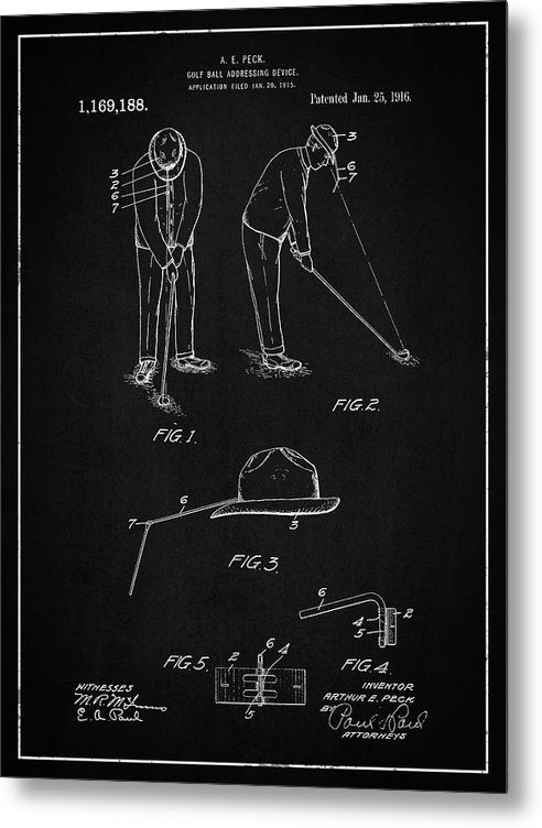 Vintage Golf Ball Addressing Device Patent, 1916 - Metal Print from Wallasso - The Wall Art Superstore
