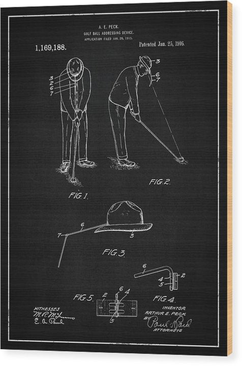 Vintage Golf Ball Addressing Device Patent, 1916 - Wood Print from Wallasso - The Wall Art Superstore