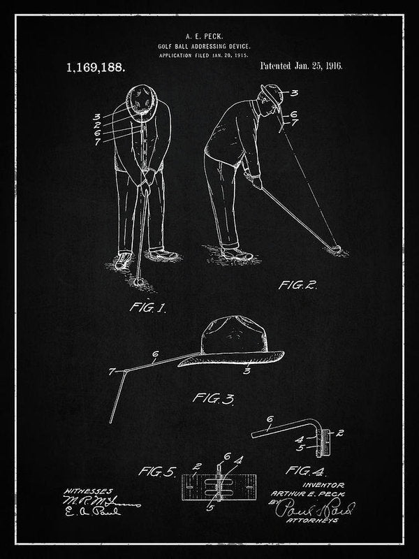 Vintage Golf Ball Addressing Device Patent, 1916 - Art Print from Wallasso - The Wall Art Superstore