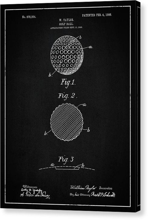 Vintage Golf Ball Patent, 1908 - Canvas Print from Wallasso - The Wall Art Superstore